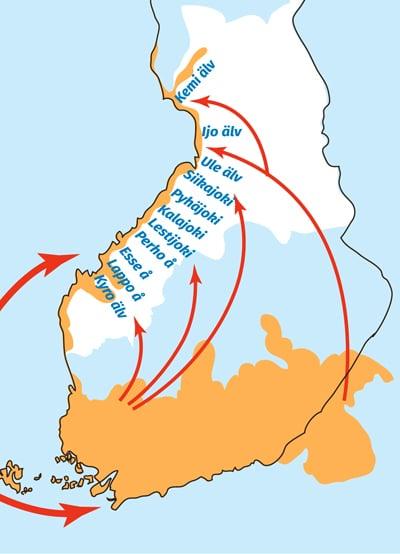 Bosättningsområden och vanliga flyttvägar under perioden 1000-1300.
